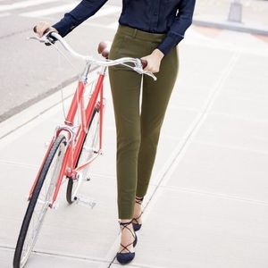 J.Crew Olive Green Maddie Stretch Cotton Pants